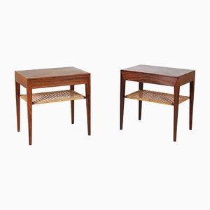 Tavolini in palissandro e canna di Severin Hansen per Haslev Møbelsnedkeri, Scandinavia, anni '50, set di 2