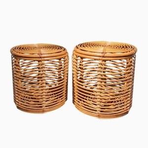 Rattan Storage Stools by Tito Agnoli for Pierantonio Bonacina, 1950s, Set of 2