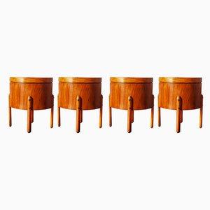 Italienische Vintage Holzhocker, 1950er, 4er Set
