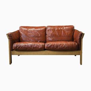 Danish Beech & Brown Leather 2-Seater Sofa by Knud Friis & Elmar Moltke Nielsen, 1970s
