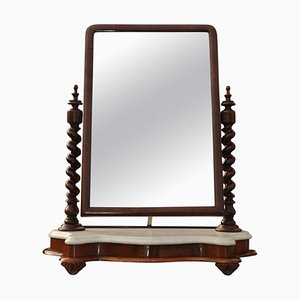 Antique English Marble & Mahogany Vanity Mirror