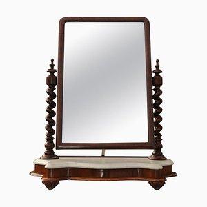 Espejo de tocador inglés antiguo de mármol y caoba