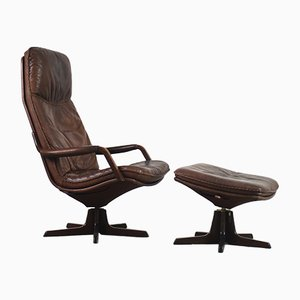 Danish Leather Adjustable Easy Chair & Ottoman Set from Berg Furniture, 1970s