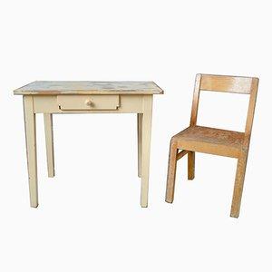 Juego de silla y escritorio infantil rústico vintage, años 50