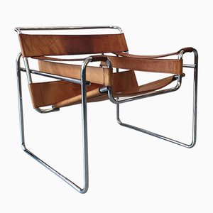 Cognac Leather Wassily Chair by Marcel Breuer for Knoll Inc./Knoll International, 1970s