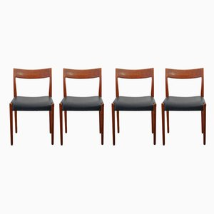 Swedish Kontiki Wooden Dining Chairs by Yngve Ekström for Hugo Troeds, 1960s, Set of 4