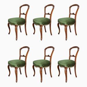 Antike viktorianische Esszimmerstühle aus Nussholz, 6er Set