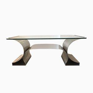 Mesa de centro de acero inoxidable de François Monnet para Kappa, años 70