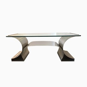 Stainless Steel Coffee Table by François Monnet for Kappa, 1970s