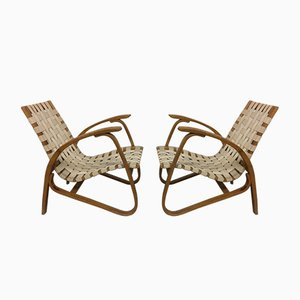 Bentwood Lounge Chairs by Jan Vanek for Spojene UP Zavody, 1930s, Set of 2