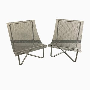 Metal Lounge Chairs, 1980s, Set of 2