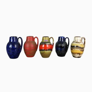 Vintage German Pottery Fat Lava 414-16 Vases from Scheurich, 1970s, Set of 5