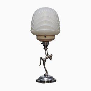 Lampada da tavolo Art Deco scultorea in metallo cromato, anni '30