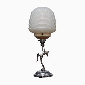 Verchromte Art Déco Tischlampe, 1930er