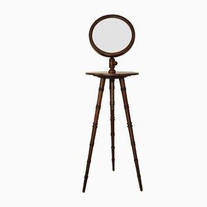 Antiker dreibeiniger Rasierständer mit höhenverstellbarem Spiegel