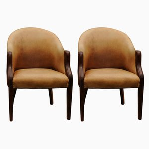 Edwardian Tan Leather Library Chairs, 1920s, Set of 2