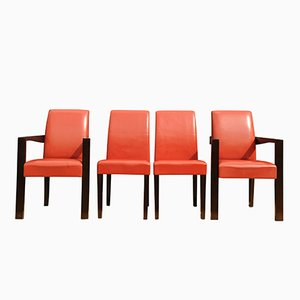 Red Leather Ying Bridge Chairs by Chafik Gasmi for Hugues Chevalier, 2004, Set of 4