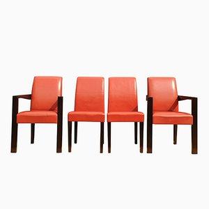 Rote Ying Bridge Lederstühle von Chafik Gasmi für Hugues Chevalier, 2004, 4er Set