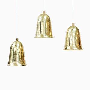 Lámparas colgantes suecas vintage de latón de Boréns, años 50. Juego de 3