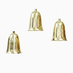 Vintage Swedish Brass Pendant Lamps from Boréns, 1950s, Set of 3