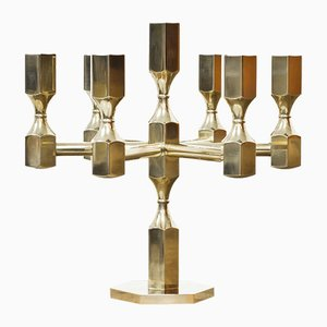 Vintage Swedish Brass Candleholder by Lars Bergsten for Gusum, 1972