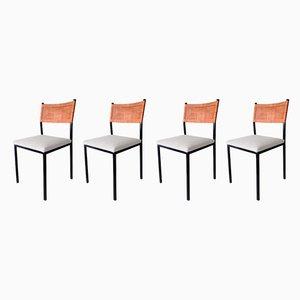 Sedie da pranzo minimaliste in metallo e vimini, anni '60, set di 4