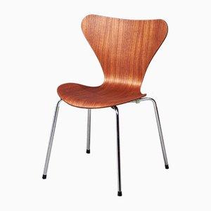Chaise d'Appoint Modèle 3107 Mid-Century en Contreplaqué de Teck par Arne Jacobsen pour Fritz Hansen, Danemark
