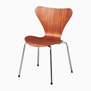 Mid-Century Danish Teak Plywood Model 3107 Side Chair by Arne Jacobsen for Fritz Hansen