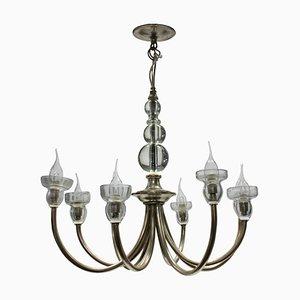 Lámpara de araña francesa de vidrio y metal, años 50
