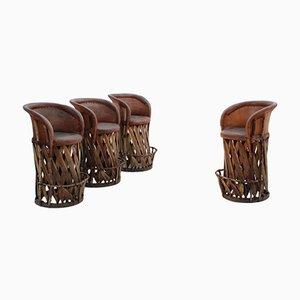 Vintage Hochstuhl mit Sitz aus Leder & Holzgestell