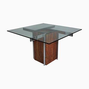 Mesa de comedor italiana de metal cromado, mármol y vidrio, años 60