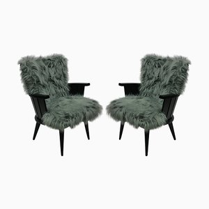 Mid-Century French Lounge Chairs, 1950s, Set of 2