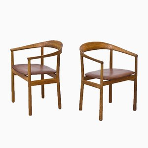 Swedish Oak & Leather Tokyo Armchairs by Carl-Axel Acking for Nordiska Kompaniet, 1950s, Set of 2