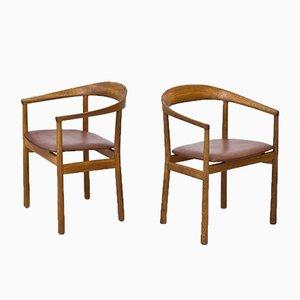Swedish Oak & Leather Tokyo Armchairs by Carl-Axel Acking for Nordiska Kompaniet, 1950s, Set of 2