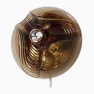 Braune deutsche Vintage Wandlampe aus Strukturglas von Koch & Lowy für Peill & Putzler, 1960er