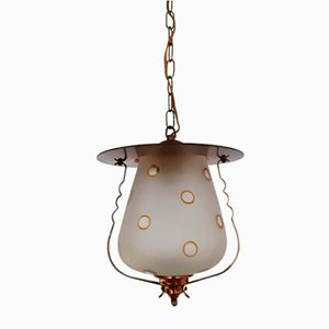 Kleine deutsche Deckenlampe aus Messing, Kupfer & Milchglas, 1950er