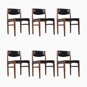 Esszimmerstühle aus Palisander & Leder von Glostrup, 1960er, 6er Set