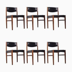 Rosewood & Leather Dining Chairs from Glostrup, 1960s, Set of 6