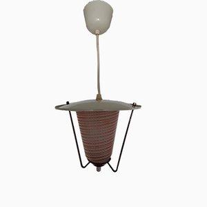 Kleine deutsche Deckenlampe aus Glas in Weiß & Rot, 1950er