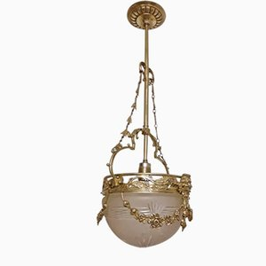 Antique German Brass Ceiling Lamp