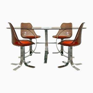 Französisches Set aus Space Age Esstisch & Stühlen, 1970er, 5er Set