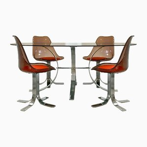 Space Age French Dining Table & Chairs Set, 1970s, Set of 5
