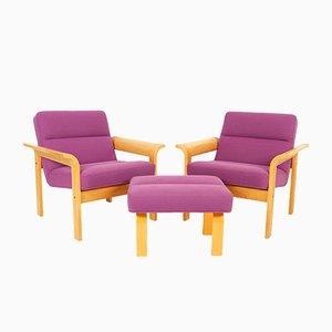 Dänisches Set mit 2 Sesseln mit Gestell aus Eiche & Fußhocker von Thygesen & Sørensen für Magnus Olesen, 1970er