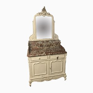 Antique French Solid Marble & Oak Dressing Table