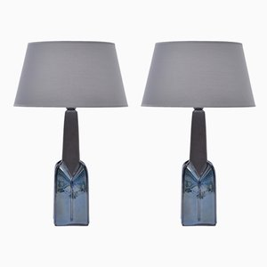 Lámparas de mesa modelo 1029 de gres de Einar Johansen para Søholm, años 60. Juego de 2