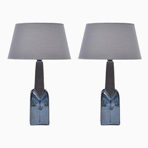 Lampes de Bureau Modèle 1029 en Grès par Einar Johansen pour Søholm, années 60, Set de 2