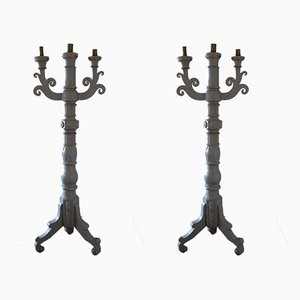 19th-Century Italian Wooden Candleholders, Set of 2