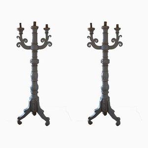 Italienische Kerzenhalter aus Holz, 19. Jh., 2er Set