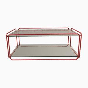 Couchtisch mit rotem Stahlgestell & Glasplatte von Rodney Kinsman, 1980er