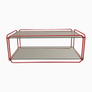 Tavolino da caffè in vetro e acciaio rosso di Rodney Kinsman, anni '80